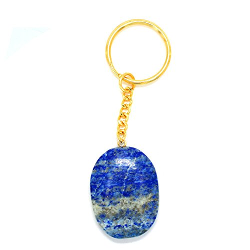 Gold Tone Keychain (1 (One) Lapis Lazuli Worry stone Keychain - Gold Tone Keychain - Natural Lapis Lazuli Worrystone Keychain Rock Paradise Exclusive with COA)