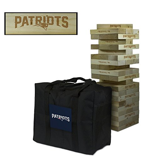 NFL New England Patriots New Football Wooden Tumble Tower Game, Multicolor, One Size by Victory Tailgate