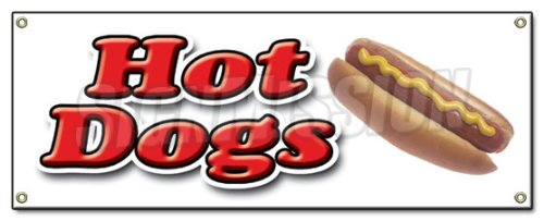 HOT DOG 1 BANNER SIGN hot dogs cart sign signs