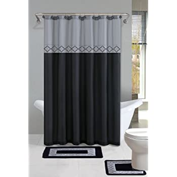 Superior Black Diamond 15 Piece Bathroom Set With Bath Rugs Shower Curtain U0026 Rings