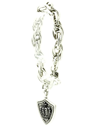 Bunnyberry Chunky Chain Metal/Crown and Shield Charm/Aged Metal/Toggle Closure/8 INCH Long/1 1/2 INCH Drop/Nickel and Lead Compliant
