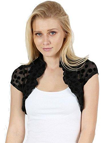 Fashion Secrets Juniors Short Sleeve Lace Bolero Shrug Cardigan (Juniors` Small, Polka Dots (Dot Shrug)