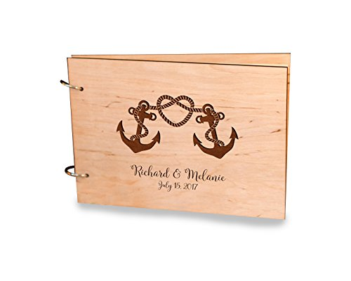 Couple Anchor Heart Hi Knot Damask Wedding Guest Book, Alternative Guest Book, Party Album Book, Bridal Shower Guestbook, Birthday Note Book, Baby Shower Note Book, Memory Book Gift.