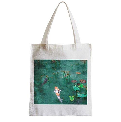 Große Tasche Sack Einkaufsbummel Strand Schüler Japanische Koi-Karpfen Garten
