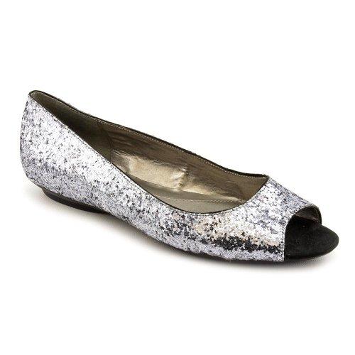 Bandolino Wilimena Womens Size 6 Silver Peep Toe Flats Shoes