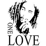 TOOGOO(R) Bob Marley ONE LOVE Vinyl Art Mural Wall Sticker Home Decal Decor Room Music Fan Black 43*61cm