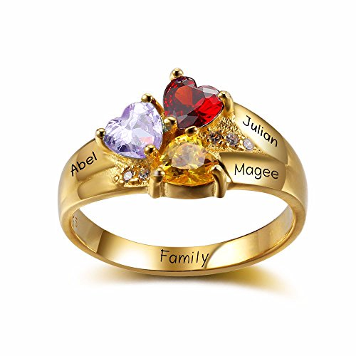 Lam Hub Fong 925 Sterling Silver Mothers Rings with 3 Birthstones 3 Names and 1 Engraving Customized and Personalized Gold Mother Daughter (Gold Mother)