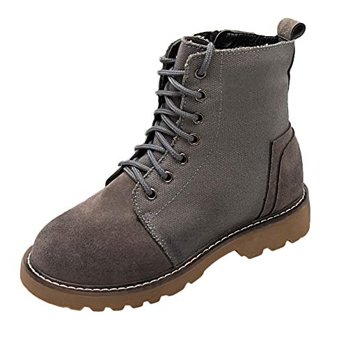 Battle Shoes Women's Stitching Boots Boots Hiking Solid Color Suede FALAIDUO Grey Outdoor Hiking Boots Canvas Casual Tourism 6ZwppqS