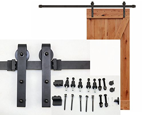6 FT Black Steel Slide Sliding Barn Door Hardware Track Rail Hanger Roller