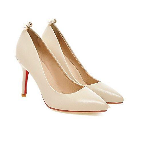 Amoonyfashion Mujeres Solid Microfiber Spikes Stilettos Acentuado Cerrado Toe Pull On Pumps-Zapatos Beige