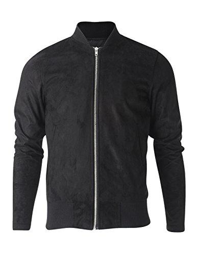 FLATSEVEN Mens Zip up Faux Suede Classic Baseball Bomber Varsity Jacket (VSJ301) Black, US M/Asia L