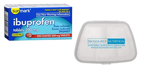 Biosource Nutrition Pocket Pill Pack in Bundle with Sunmark Ibuprofen 200 mg 100 Coated Tablets