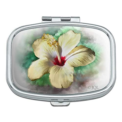 Tropical Yellow Hibiscus Flower Hawaiian Vacation Rectangle Pill Case Trinket Gift Box