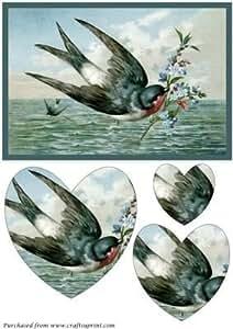 Vintage de pájaro con flores con forma de corazón Pyramid por Apetroae Stefan