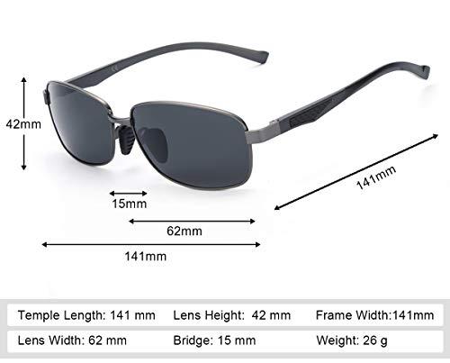 Corren de Rayos Polarizadas de Sol Gris UVA UVB Moto Rectangulares Dañi 100 Hombre Gris Conducen Gafas Protección Contra Los HnxYzWqO