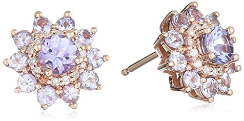 - 10k Pink Gold Tanzanite and Diamond Flower Stud Earrings (1/10cttw, I-J Color, I3 Clarity)