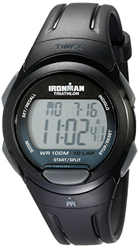 Timex Men's T5K608 Ironman Essential 10 Full-Size Black/Gray Resin Strap Watch (Digital Iron Watch Man)