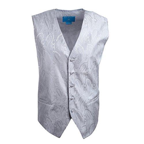 Formal Wear Mens Accessories (EGC1B03A-S Silver Patterned Beautiful Gentlemen Waistcoat Woven Microfiber Formal Wear Accessories Small Vest By)