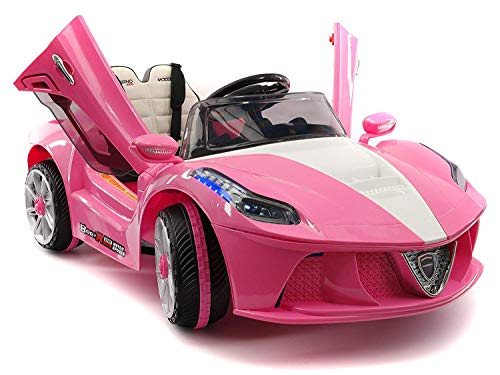 (2019 SPIDER RACER RIDE-ON CAR TOYS 12V ELECTRIC TRUCK FOR KIDS TODDLERS | LEATHER | LED BODY KIT | 12V POWERED | PARENTAL REMOTE CONTROL + (1 YEAR WARRANTY) | PINK)