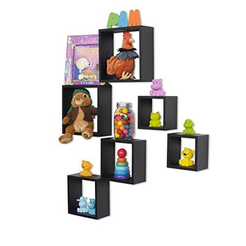 Wall Mount Modular Design Cube Storage Nursery Kids' Room Box Floating Shelves Bookcase Set of 6 (Black)