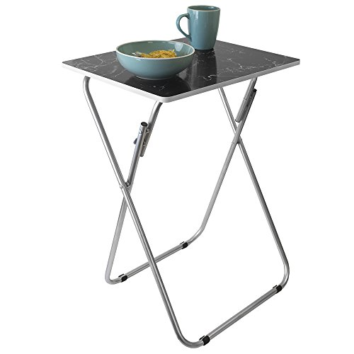 Home Basics Multi-Purpose Sturdy and Durable Decorative Bedside Laptop Snack Cocktails TV Folding Table Tray Desk Bedside Laptop Snacks Black Marble by Home Basics (Image #4)'