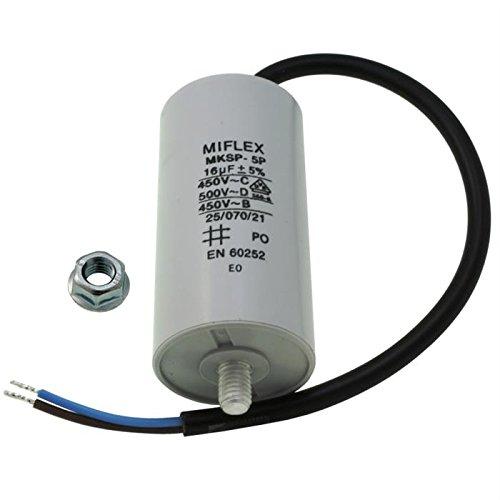 Start-up capacitor motor capacitor 16/μF 450V 40 x 78 mm line M8 Miflex; 16uF