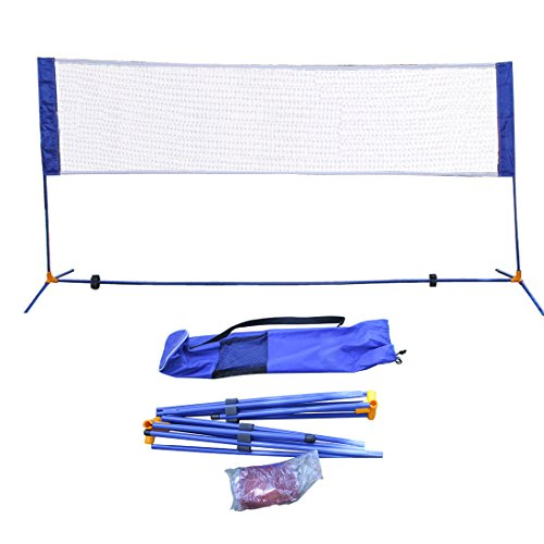 Portable Height Adjustable Badminton Volleyball Tennis Net Set Equipment with Poles Stand and Carry Bag 3m/10ft for Kids Adult Outdoor Sports