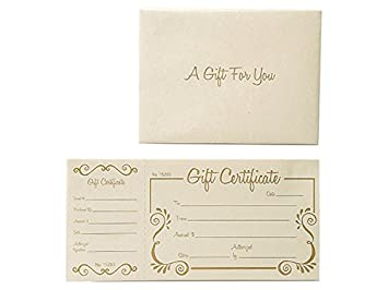 amazon com pack of 100 solid gold scroll deluxe gift certificate w
