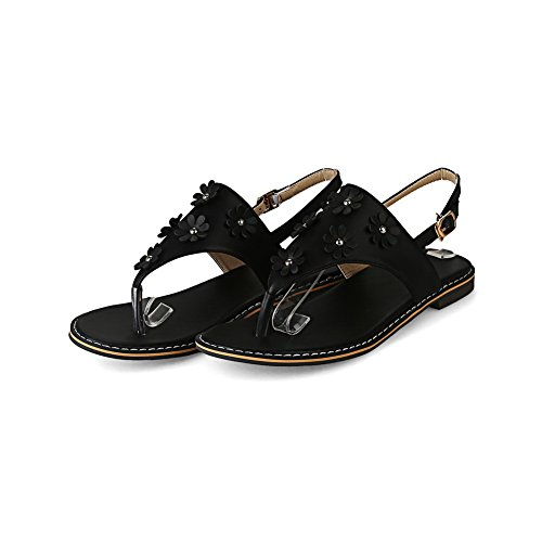 BalaMasa Womens Sandals Studded Fabric Urethane Sandals ASL04438 Black OOsRN0Mup