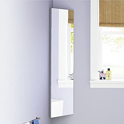 Panana 1200 X 300 Tall Wall Corner Bathroom Mirror Cabinet Stainless Steel Storage Modern Unit With 5 Shelves Amazon Co Uk Home Kitchen