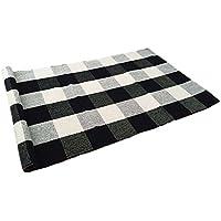 USTIDE 100% Cotton Rugs Buffalo Plaid Rug Black/White Checkered Plaid Rug Kitchen/Bathroom/ Entry Way/Laundry Room/Bedroom 24''x51''