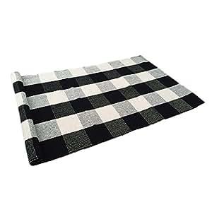 Amazon Com Ustide 100 Cotton Rugs Black White Checkered