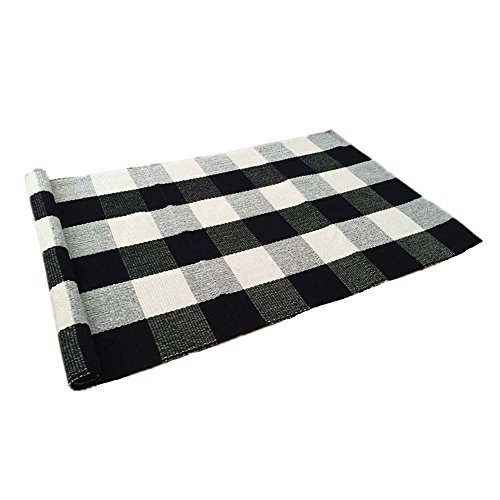 USTIDE 100% Cotton Rugs Buffalo Plaid Rug Black/White Checkered Plaid Rug for Kitchen/Bathroom/ Entry Way/Laundry Room/Bedroom 24''x51'' by USTIDE