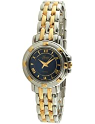 Swiss Edition Womens Two Tone Silver & 23K Gold Plated Luxury Roman Numeral Blue Dial Dress Watch SE3820-LB