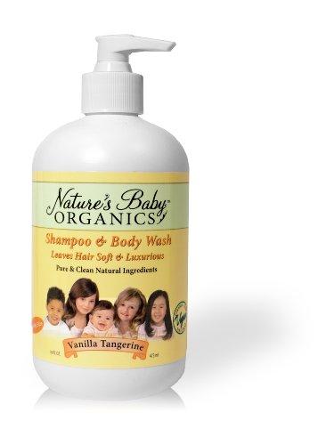 Nature Bébé Organics Shampooing & Gel pour le corps, la vanille Tangerine, 16-Ounce Bottles (Pack de 2)