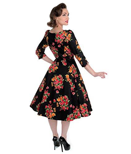 H&R London 50s Style Botanique Robe Motif Floral Noir