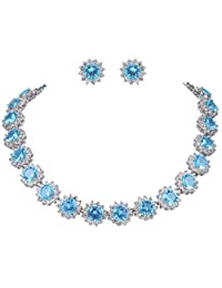 Ever Faith Wedding Round Pave CZ Star Inspired Jewelry Set - Necklace Earrings Silver-Tone