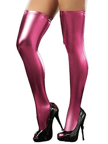 Igeon Women's PVC Leather Wet Look Tights Thigh High Stockings (Pink) (Latex Thigh)