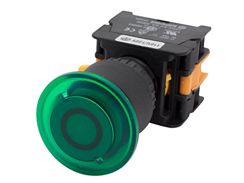 Alpinetech EPFL-22 Green 22mm 1NC 1NO Latching Maintained Push Button Switch 24V LED - Green Illuminated Button Push