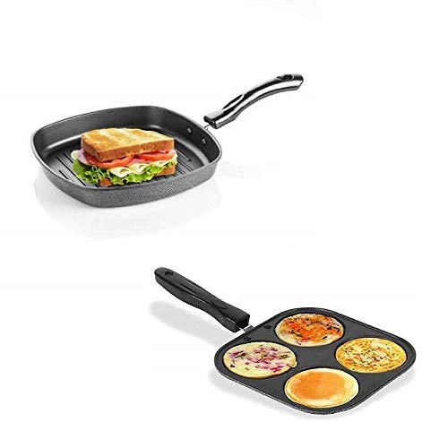 DARSHANAM WORLD Square Grill Pans,Removable Heat-Resistant Handle, Heavy Guage Aluminum Cookware for Induction/Electric/Ceramic/Gas Stove Tops, 3-Layer (Grill Pan and Mini Uttapam)