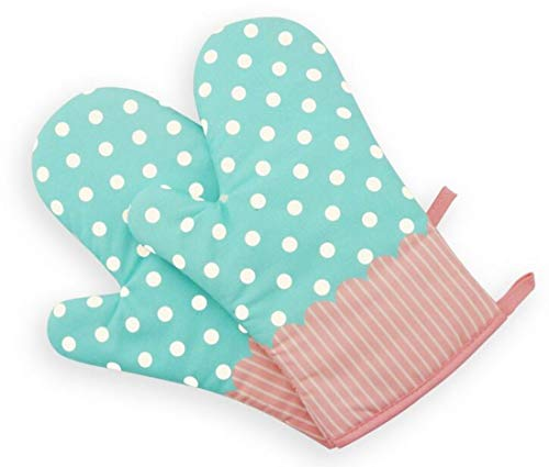 Set of Two Oven Mitts | Heat Resistant Cotton Kitchen Pot Holder Gloves for Cooking,Barbecue,Baking,Grilling (Dotted Blue)