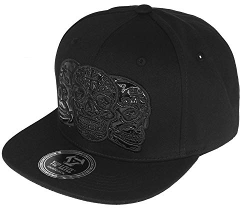RufnTop Patch Adjustable Flat Bill Baseball Punk Hat Snapback Cap(Skull 3 - Fitted Hat Cap Custom