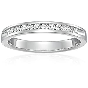 14k White Gold and Diamond Anniversary Ring (1/4 cttw H I Color, SI2 I1 Clarity), Size 7
