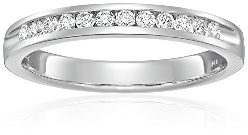 Women's 14k White Gold Diamond Anniversary Ring (1/4 cttw H-I Color, SI2-I1 Clarity), Size 7 -