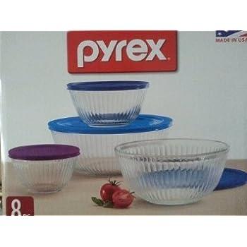 Amazon.com: Pyrex Dots Textured Mixing Bowls 4 piece set: Kitchen ...