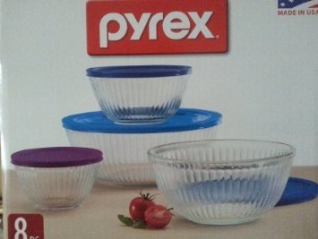 Pyrex 8 Piece Ribbed Bowl (4) Set Including 3 Blue and 1 Purple Locking Lids