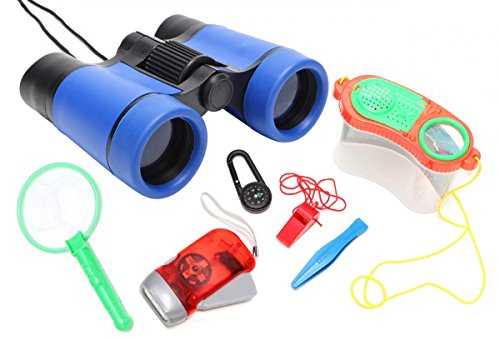 - WODISON Kids Nature Exploration Kit Binoculars Set: Flashlight, Compass, Whistle, Bug Container Set, Children Outdoor Adventure Toy for Birdwatching Camping Educational Learning Blue