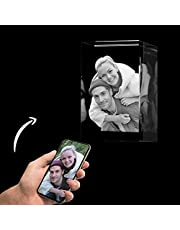 Roniatic 3D Crystal Photos Personalized Laser Etched Engraved Picture in Glass Memorable Gift Birthday Wedding Mother's Day Valentine's Day