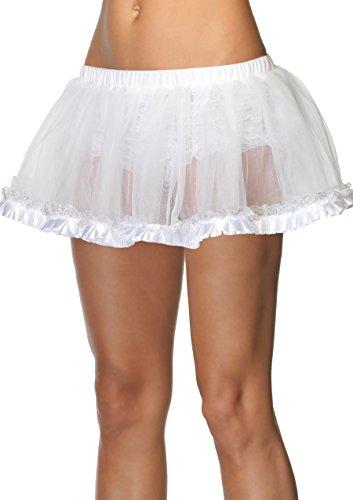 Leg Avenue Petticoat with Pleated Satin Trim, White, One Size Trim Leg Avenue