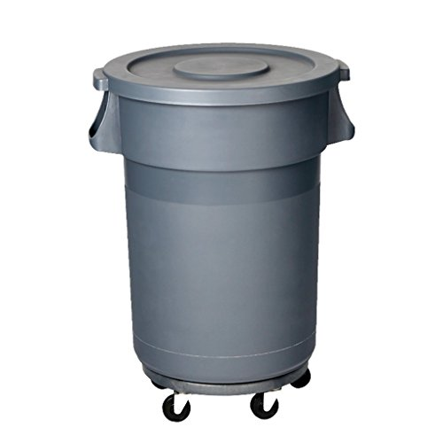 Homelx Plastic Outdoor Large Wheelie Bin, Round Outdoor Trash Box with Wheel, Plastic Outdoor Park School Square Market Trash Can with Lid, 80L, Gray ()